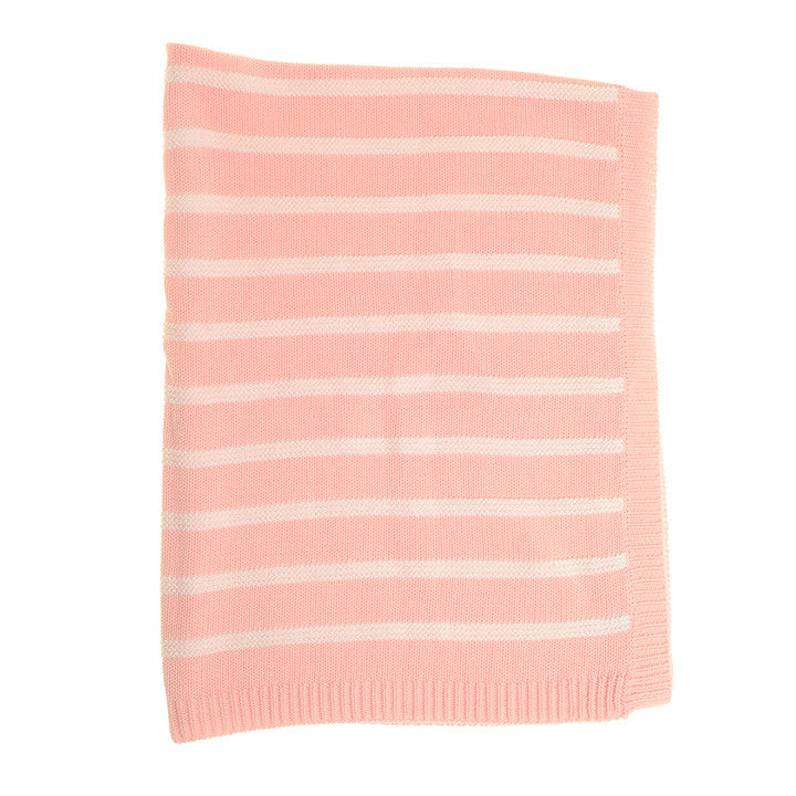 Ziggle Baby Blanket Pink and White Stripes