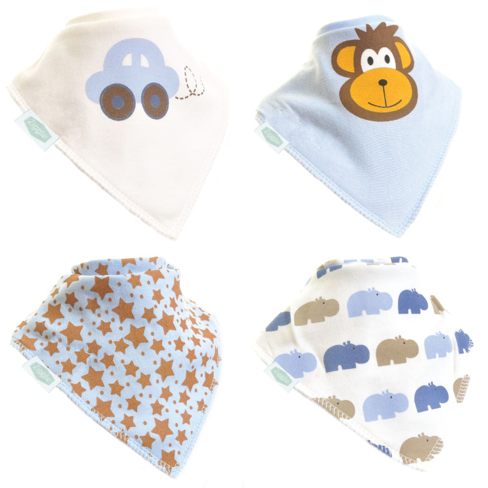 Ziggle Bandana Bib Cute Boys - Pack 4