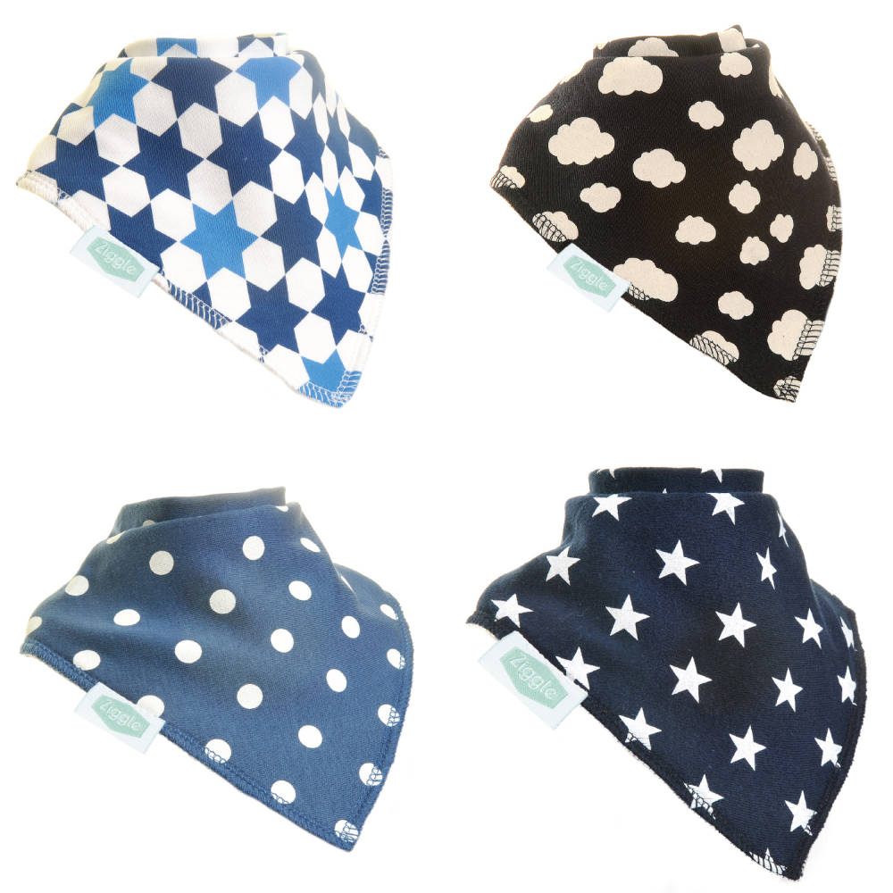 Ziggle Bandana Bib Just Blues - Pack 4