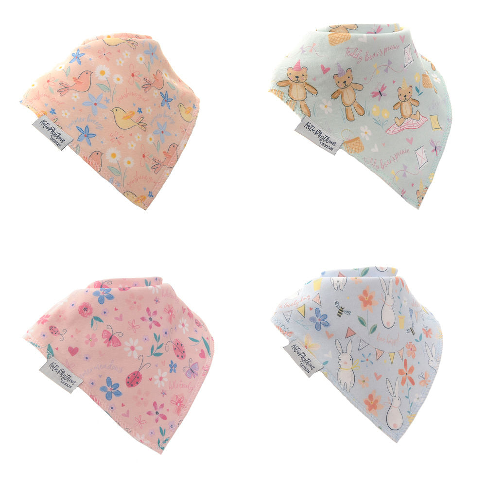 Ziggle Bandana Bibs Pastel Prints by Katie Phythian Designs - Pack 4