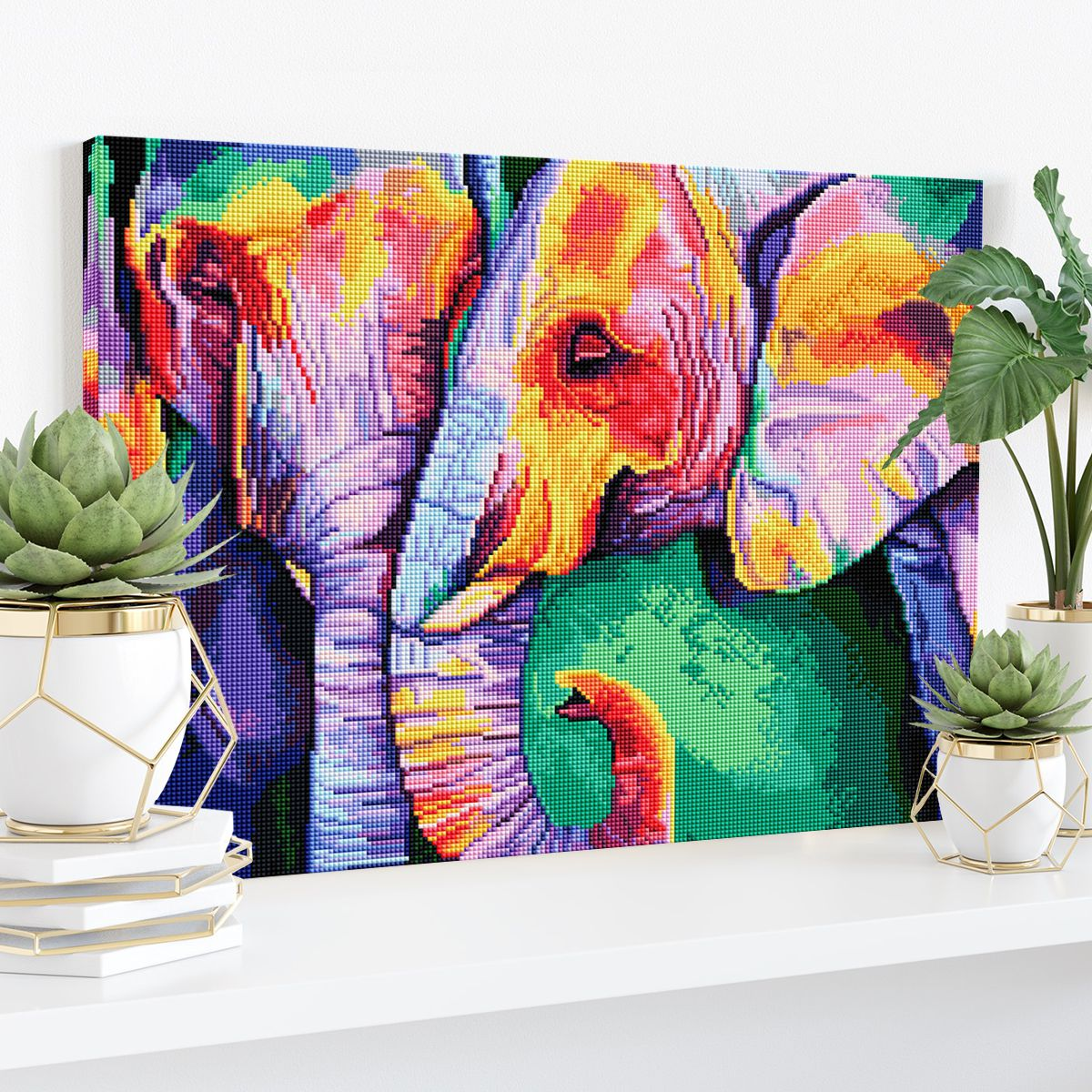 Colorful Elephants - Diamond Painting