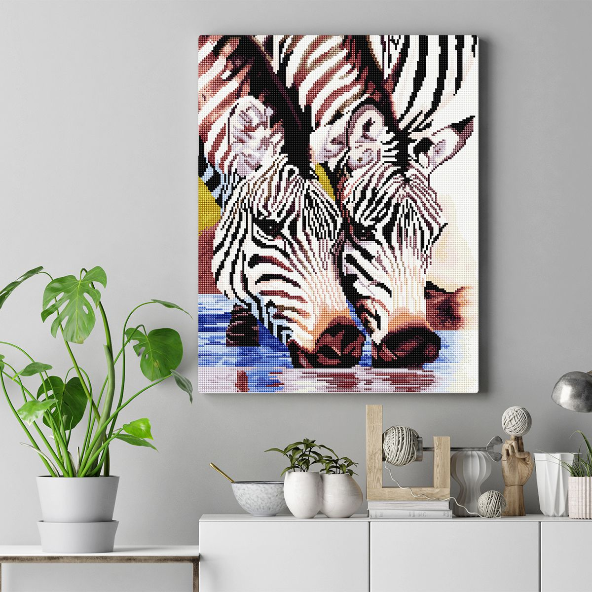 Zebras At The Pond - Diamond Painting