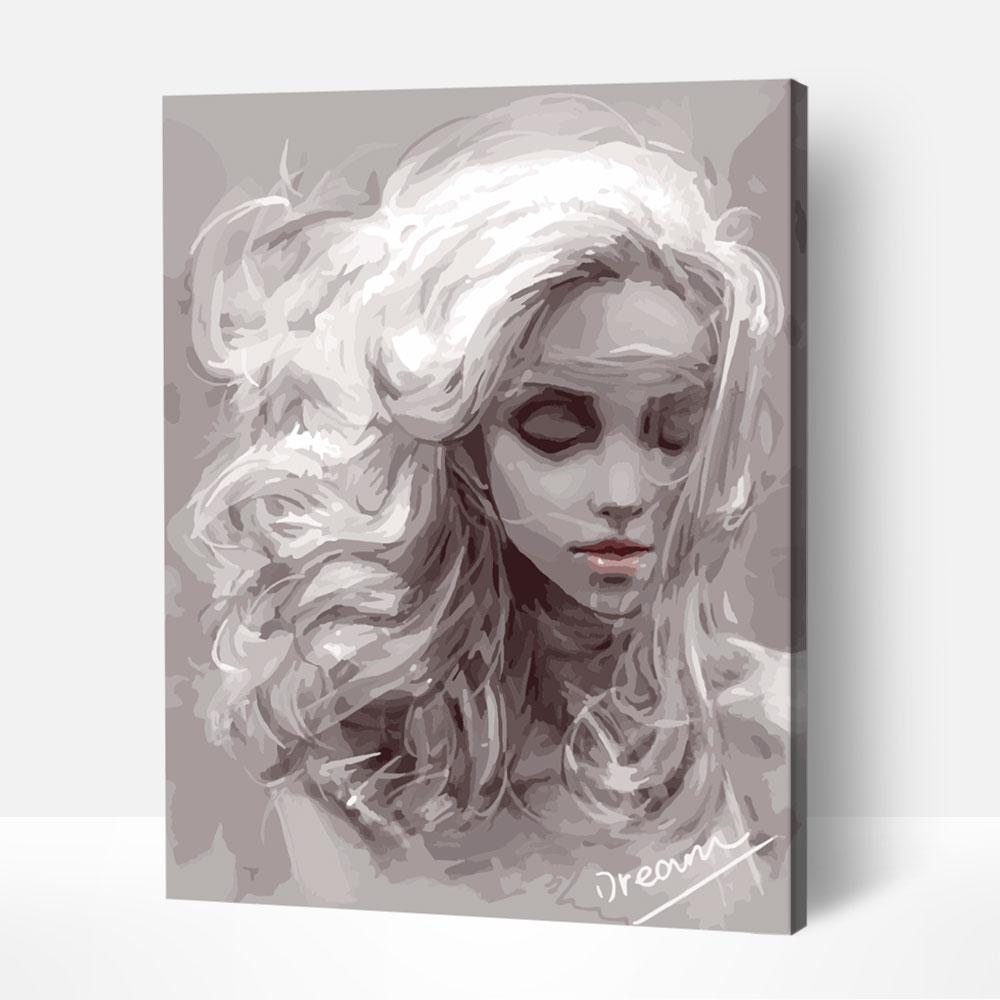 Woman in Winter Grayscale - Paint By Numbers Kit For Adult