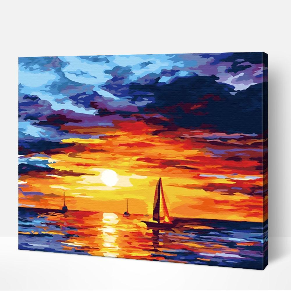 Sailing Boat at Sunset - Paint By Numbers Kit For Adult