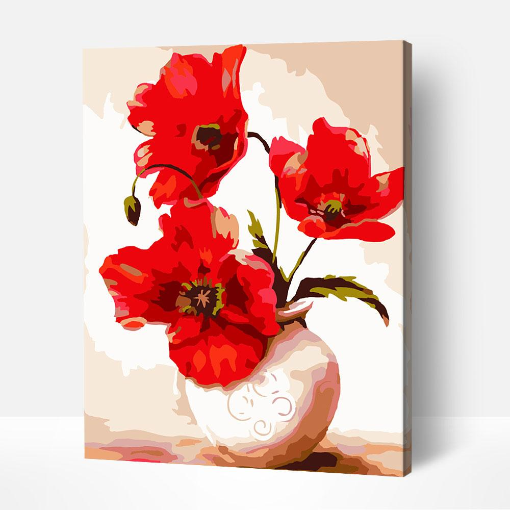 Red Blooms - Paint By Numbers Kit For Adult