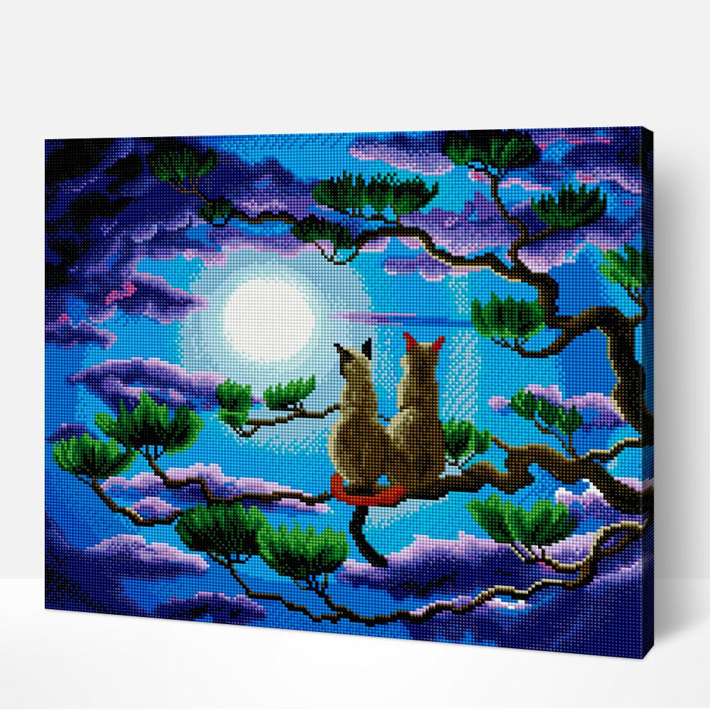 Cats Under A Full Moon  - Diamond Painting