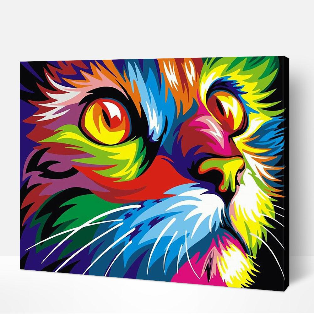 Multicolor Cat - Paint By Numbers Kit For Adult