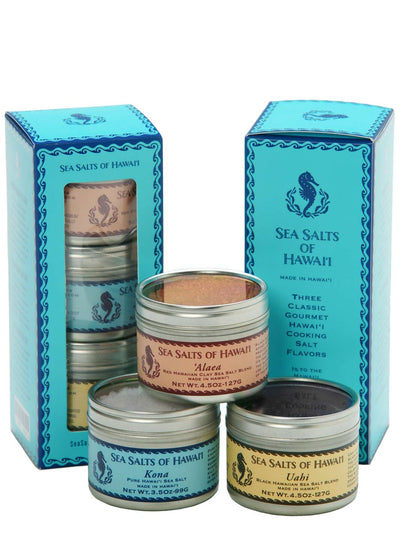 Three Tin Gift Box with Red, Black and Kona Hawaiian Sea Salts