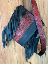 Load image into Gallery viewer, Sergios Stunning Black & Red Fringe Crossbody