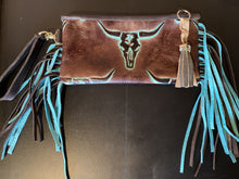 Load image into Gallery viewer, Sergios long horn embossed leather wristlet