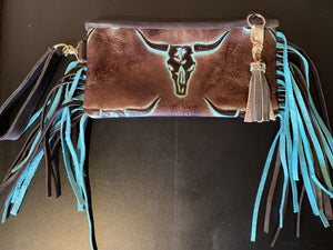Sergios long horn embossed leather wristlet