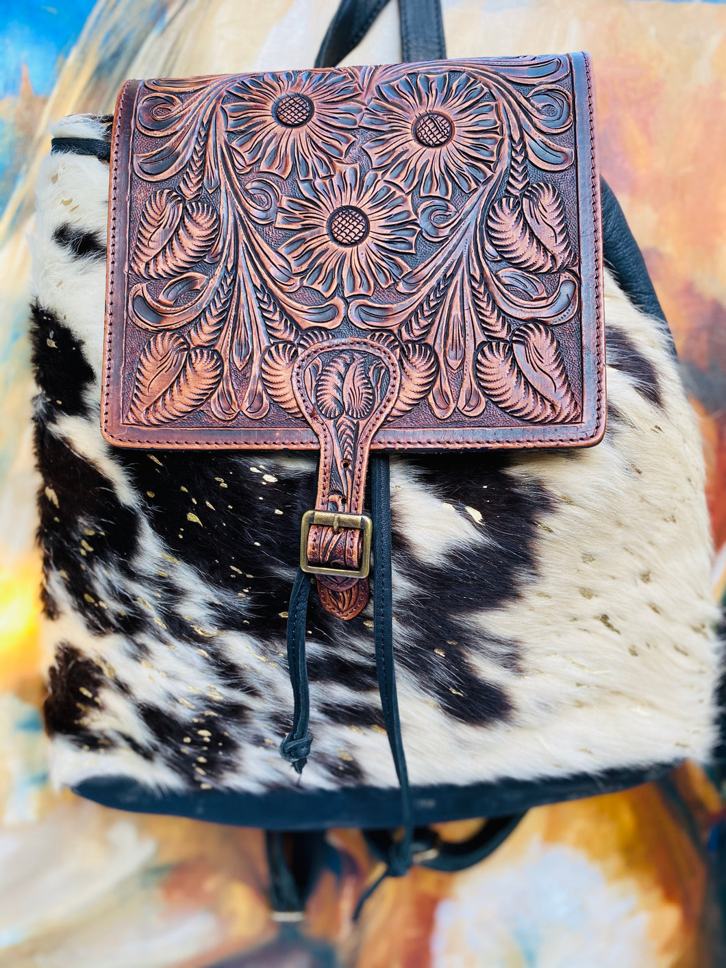 Cowhide and Tooled Leather Backpack