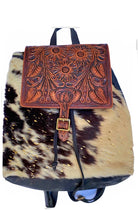 Load image into Gallery viewer, Cowhide and Tooled Leather Backpack