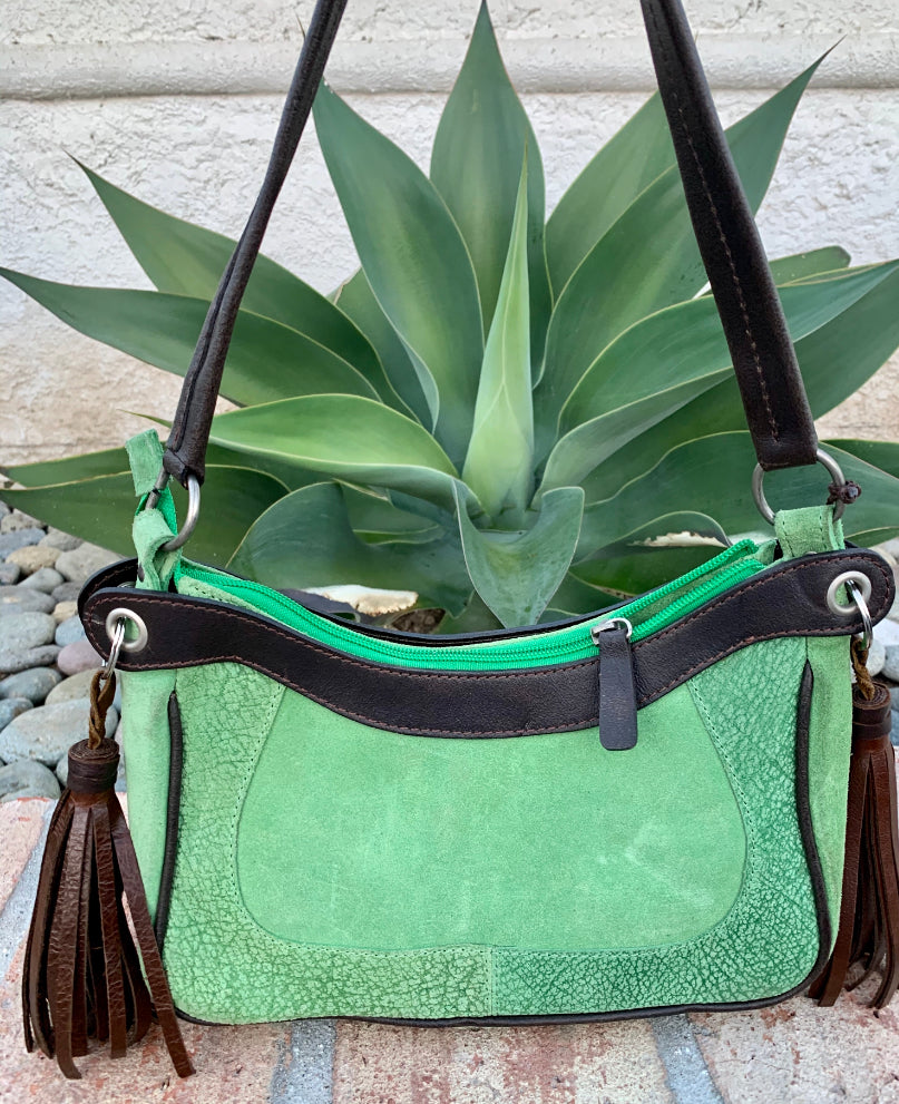 Sergios Lime suede leather satchel