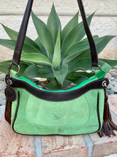 Load image into Gallery viewer, Sergios Lime suede leather satchel