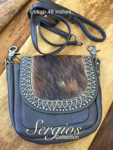 Crossbody with cowhide flap