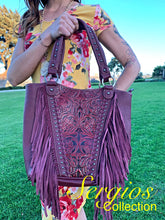 Load image into Gallery viewer, Large Embossed And Fringe Tote