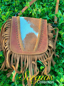 Cowhide crossbody and hipster purse