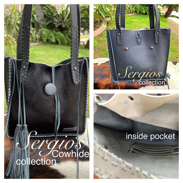 Small black cowhide tote