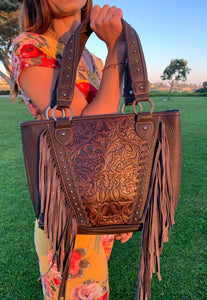 Embossed and Fringe Large Tote
