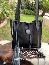 Load image into Gallery viewer, Small black cowhide tote