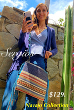 Load image into Gallery viewer, Navajo Blue tote bag double handle plus crossbody strap