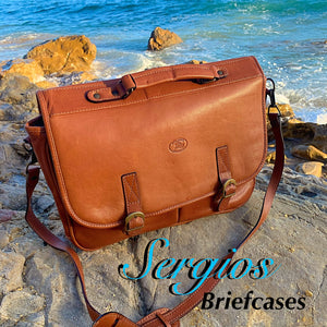 Sergios Classic Soft Italian Leather Briefcases