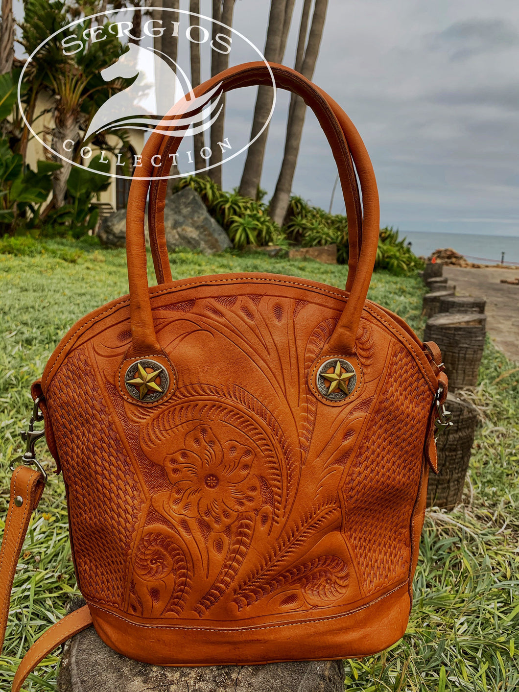 Sergios Vintage handmade Tooled leather shoulder bag