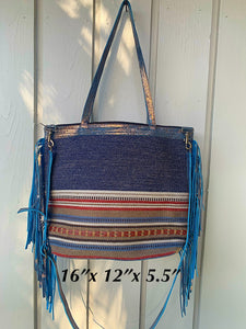 Navajo Blue tote bag double handle plus crossbody strap