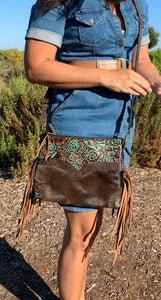 Embossed and Cowhide leather Crossbody/Hipster