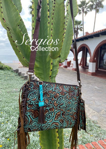 Turquoise floral Crossbody