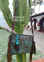 Load image into Gallery viewer, Turquoise floral Crossbody