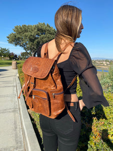 Hand tooled unisex backpack