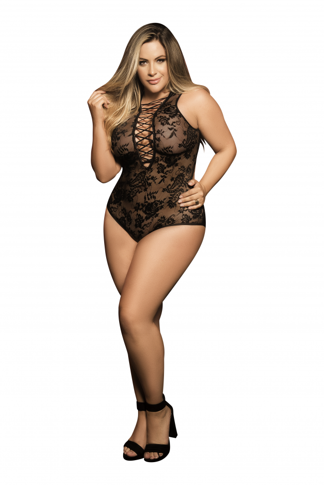 Mapale Black Plus Size Plunging Lace Up Teddy