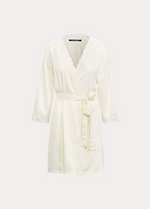 Load image into Gallery viewer, Ralph Lauren Lace-Trim Satin Robe - Ivory