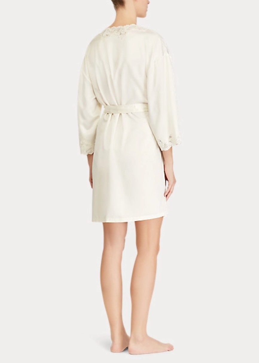 Ralph Lauren Lace-Trim Satin Robe - Ivory