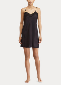 Ralph Lauren Satin Lace Chemise - Black
