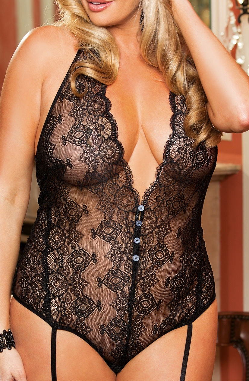 Shirley of Hollywood Halter Lace Garterted Teddy
