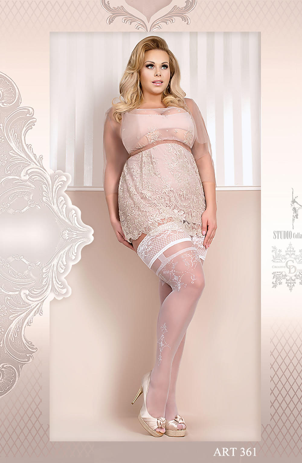 Ballerina 361 Plus Size Hold Ups - White