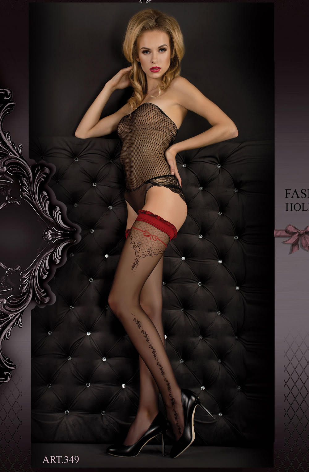 Ballerina 345 Hold Ups - Black & Red