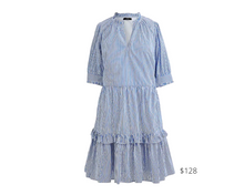 Load image into Gallery viewer, https://www.jcrew.com/p/womens_category/dressesandjumpsuits/ruffleneck-tiered-popover-dress-in-stripe/AR600?color_name=banker-blue