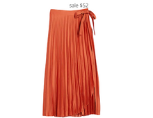 Load image into Gallery viewer, https://www.express.com/clothing/women/high-waisted-pleated-wrap-midi-skirt/pro/07739563/color/LOBSTER/