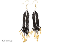 Load image into Gallery viewer, https://inkalloy.com/collections/beaded-earrings/products/black-with-ivory-luxe-single-stripe-with-fringe-earring
