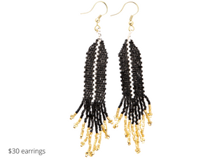 https://inkalloy.com/collections/beaded-earrings/products/black-with-ivory-luxe-single-stripe-with-fringe-earring