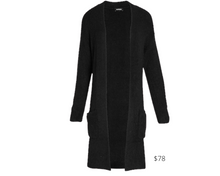 Load image into Gallery viewer, https://www.express.com/clothing/women/ribbed-patch-pocket-cardigan/pro/08411714/color/Pitch%20Black/