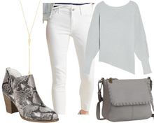 Load image into Gallery viewer, Inverted Triangle Grey Jeans and Tunic