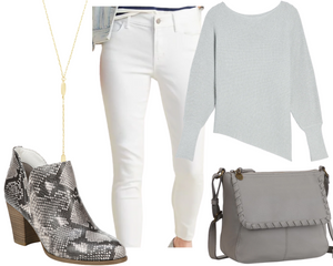 Inverted Triangle Grey Jeans and Tunic