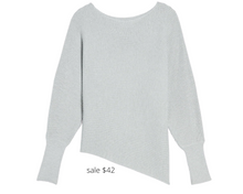 Load image into Gallery viewer, https://www.express.com/clothing/women/ribbed-asymmetrical-tunic-sweater/pro/08372497/color/Silver%20Heather%20Gray/