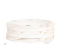 Load image into Gallery viewer, https://inkalloy.com/collections/lucite-resin-bracelets/products/white-marbled-acetate-set-of-5-thin-bangles
