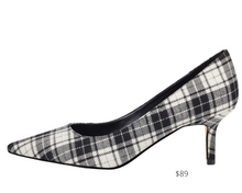 Load image into Gallery viewer, https://ninewest.com/products/arlene-pointy-toe-pumps-in-black-white-plaid